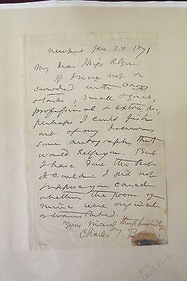 Charles T. Brooks 1871 ALS