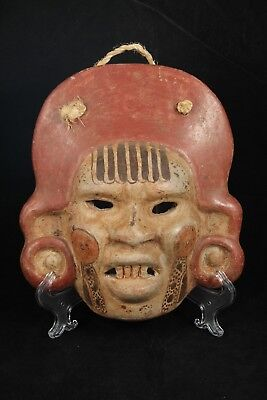 Vntg Mexican Ceramic Hanging Mask Folk Art Hand Made/Painted Collectible Decor