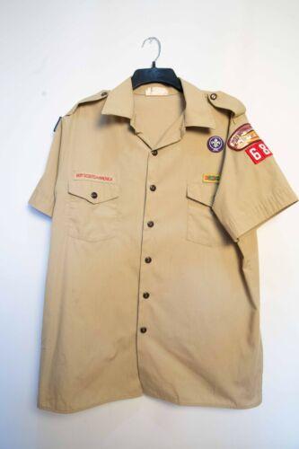 Boy Scouts Official Tan Short Sleeve Shirt Uniform Mens Large