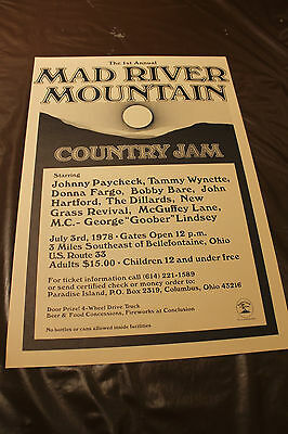 Mad River Mountain Country Jam Johnny Paycheck Dillards..Concert Promo Poster NM