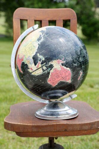 Vintage REPLOGLE 12 Inch Starlight Black World Globe With Chrome Base Art Deco