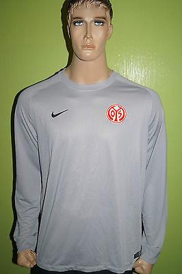 Nike Mainz 05 Torwart Trikot Jersey Maillot Gr L grau gepolsterte Ellenbogen