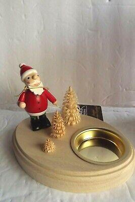 SAICO Seiffen Handcrafted Christmas Tea Light Holder SANTA AND TREES Germany NEW ()