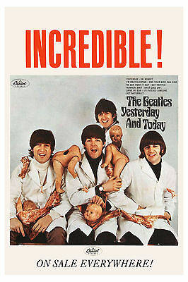 1960's  The Beatles * Butcher Cover * Capitol Ad Poster 1966 13 x 19