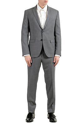 4 Knopf Herren Anzug (Hugo Boss Reyno4 Wave2 Herren 100 Wolle Extra Slim Grau Zwei Knopf Anzug)