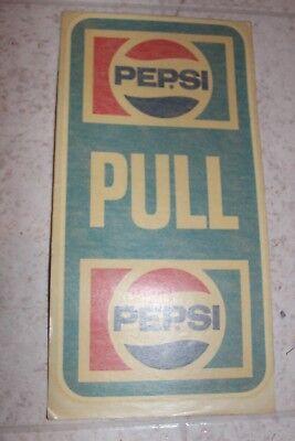 """COCA COLA PEPSI COLA DECAL SODA STICKER Pull 8 1/2"""" x 4 1/2"""""""