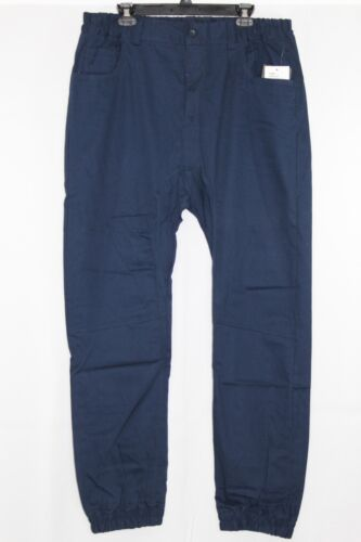 Mens Noble Woven Joggers Pants Hip Hop Trousers Midnight