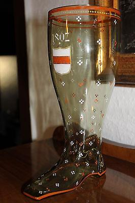 Antiker Bierstiefel Bierglas Gründerzeit Heckert Selten Datiert