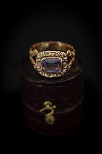 Antique Georgian Amethyst Ring 18kt Gold Fully Hallmarked
