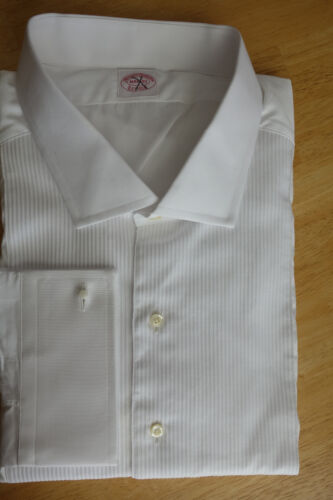 NWOT Brooks Brothers White Cotton Formal Shirt 20.5-37   Retail $285