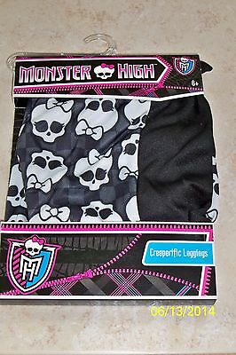 GIRLS MONSTER HIGH LOGO BLK SKULL CREEPERIFIC LEGGINGS COSTUME DRESS S/M XS12898