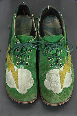 vintage glam leather shoes 5/6 lighting bolt green heels 70's