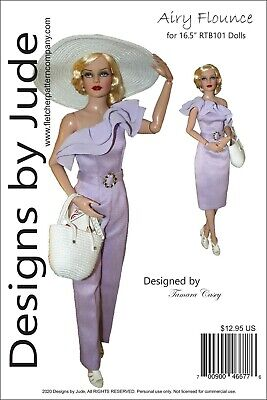 Airy Flounce  Doll Clothes Sewing  Pattern for 16.5