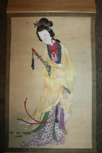 "Antique Japanese Scroll Beautiful Hand Painted Woman 40"" x 12 1/2""  Lot D"