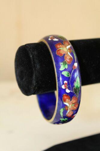 Sz S Vintage 70s Chinese Cloisonne Enamel BANGLE Floral Cobalt Blue Bracelet