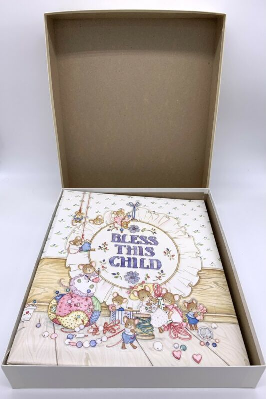 Vintage C.R. Gibson Bless This Child Baby Book Cara Marks Adorable Mice