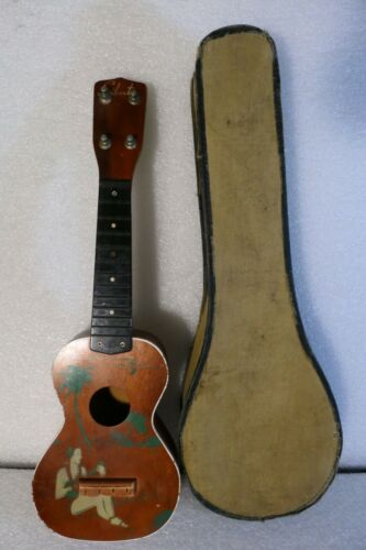 HAWAIIAN PAINTED HULA DANCER UKULELE USA MADE SILVERTONE 1940