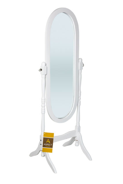 White Wooden Free Standing Full Length Cheval Mirror-M01W
