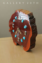 COOL! MID CENTURY LACQUERED WOOD CLOCK! TURQOISE MODERN RETRO VTG 1960'S ATOMIC