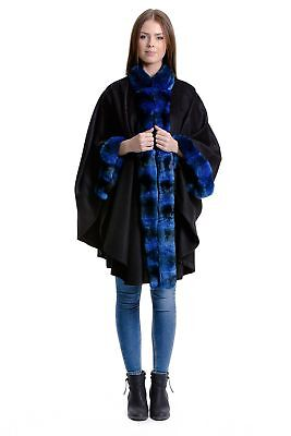 Real Original Chinchilla fur Cape Blue Luxury fur Fashion Clothing Size:Uni