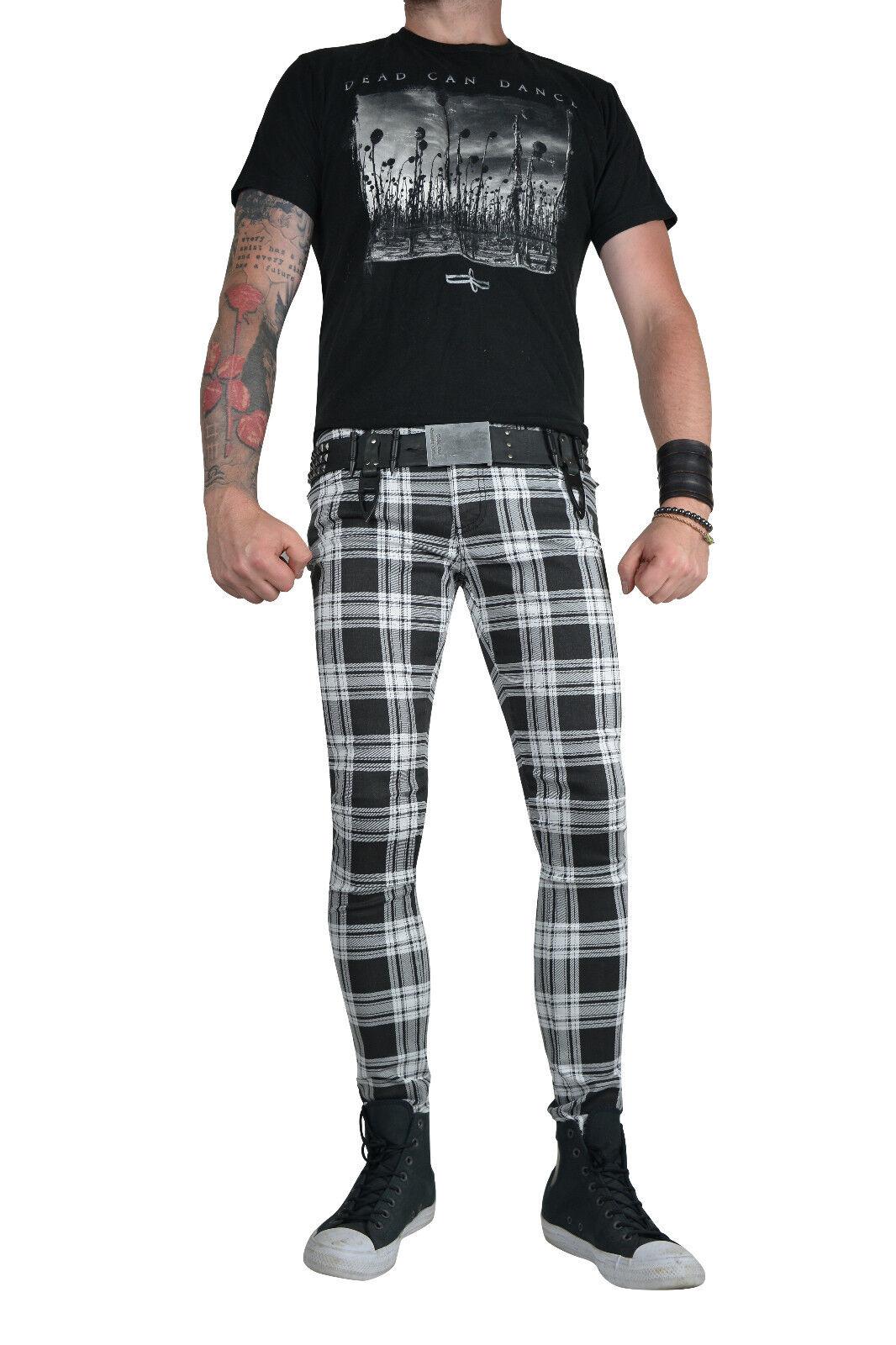 TRIPP WHITE BLACK PLAID SKINNY JEANS TARTAN ROCKSTAR UNISEX FIT PUNK ROCK PANTS Clothing, Shoes & Accessories