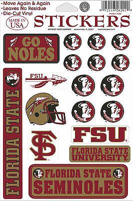 Florida State Seminoles Vinyl Die Cut Sticker Decals   18 Per Sheet