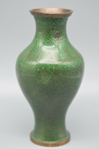 """VERY OLD Rare Green Oriental Cloisonne Vase, 6 1/4"""" T, 3"""" W,  Stock #101A"""