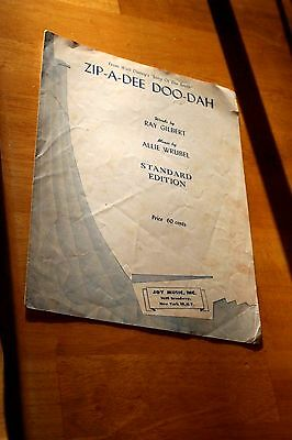 Vintage Zip-A-Dee Doo-Dah Sheet Music/Used-Good (Zip A Dee Doo Dah Sheet Music)