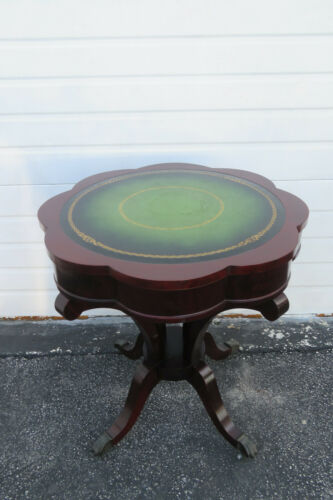 Mahogany Serpentine Leather Top Round Center Side Table 1306