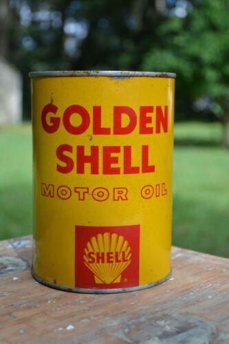 Vintage Golden Shell Motor Oil metal quart oil can - unopened