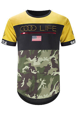 Gold Tarnung (Neu Herren Good Life Gold Geprägt T-Shirt Gelb Tarnung Made S-3XL Enge Passform)