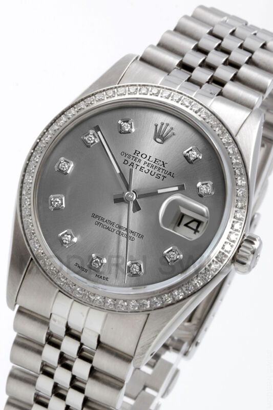 Rolex Mens Datejust Steel Slate Diamond Dial & Bezel Jubilee Quickset 16014