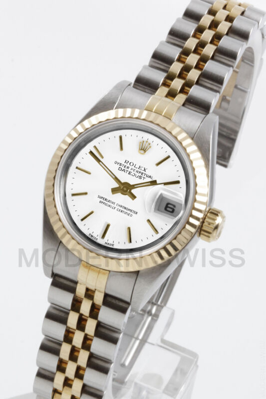 Rolex Ladies Datejust Gold & Steel White Index Fluted Jubilee 2 Tone Perpetual
