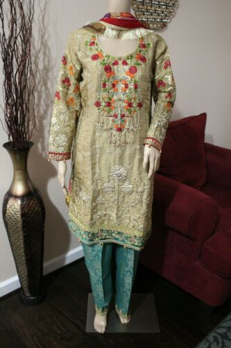 Pakistani Masoori Gold Embroidery, Fancy Thread work and sequins,Large