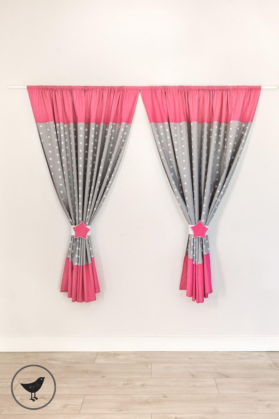 Kinderzimmer Vorhänge 155x155cm + Schlaufen Kindergardinen Baby Gardinen LOOLAY Sternchen grau/ rosa V3