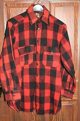 1940s Men's Shirts, Sweaters, Vests Woolrich Woolen Mills Red Black Buffalo Plaid Shirt Jacket Sz. 53/15 - Vtg.1940s $175.00 AT vintagedancer.com