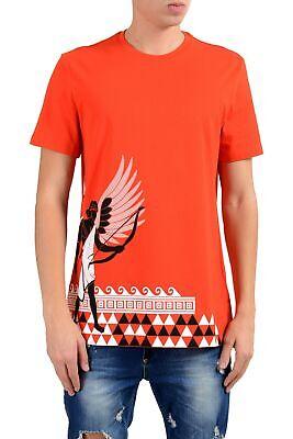 Versace Collection Men's Orange Graphic Short Sleeve Crewneck T-Shirt