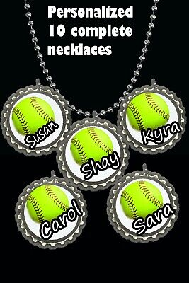 Softball personalized w/names Necklaces necklace great party favors lot of 10 - Softball Party Favors