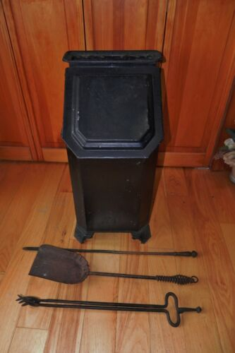 Victorian Antique Coal Wood Ash Scuttle Box Hod Fireplace With Tools