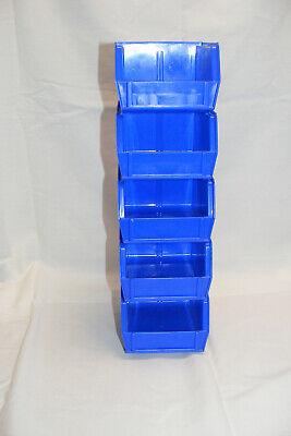 5 Pk Uline Blue Stackable Storage Bins S-12413  5 X 4 X 3