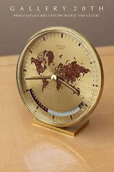 MID CENTURY KIENZLE GERMAN WORLD TIME DESK CLOCK! Quartz 60s Vtg Modern Art Deco