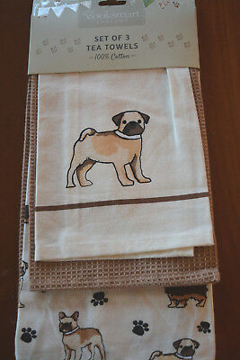 COOKSMART ENGLAND SET OF 3 DOG PRINT KITCHEN DISH TEA TOWELS DOG LOVER GIFT NWT