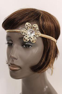 New Women Big Gold Metal Flower Head Band Chain Fashion Hair Jewelry Elastic