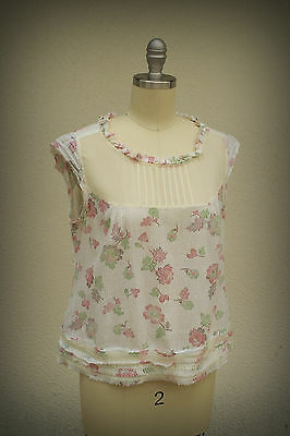 Lux Top Baby Doll Victorian Style Pleated Bib Kinetic Flower Design Large Junior