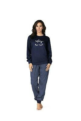 Navy Baumwolle Pyjama (Comtessa Single Jersey Damen Schlafanzug Pyjama 100% Baumwolle 182347 navy berry)