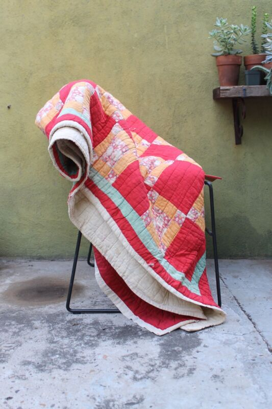 """Vintage Handmade Hand Quilted Checkered Quilt Blanket Throw 80"""" X 63"""""""