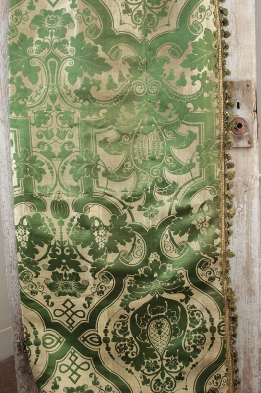 Silk Brocatelle antique French green bed curtain hanging  w/ trim brocade old ~*