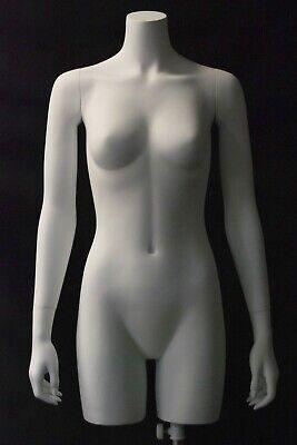 Adult Female Matte White Fiberglass 34 Headless Torso Mannequin With Base