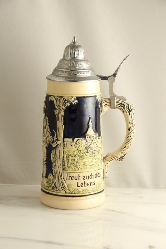 Vintage German Porcelain/Ceramic Stein Beer Mug with Pewter Lid