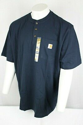 Carhartt Men's Short Sleeve Workwear Henley 2XL or 2XL Tall Navy Blue K84